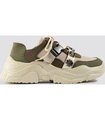 na-kd shoes gem trim chunky sneaker - beige