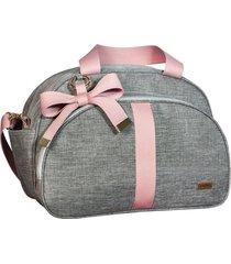 bolsa maternidade lyssa baby linho cinza com alça rosé