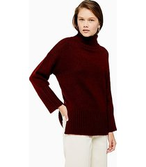tall knitted super soft funnel neck sweater - camel