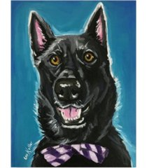 "hippie hound studios german sherpherd black german bow tie canvas art - 20"" x 25"""