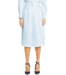 women's rodarte polka dot pleated silk twill midi skirt, size 10 - blue