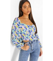 bloemenprint blouse met geplooide buste en lange mouwen, purple
