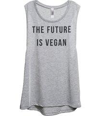 thread tank the future is vegan women's sleeveless muscle tank top tee sport gre