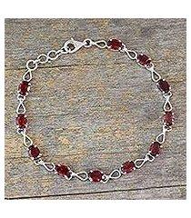 garnet link bracelet, 'crimson relay' (india)