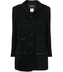 chanel pre-owned 2008 metallic threading straight-fit jacket - black