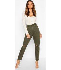 high waist distressed mom jeans, khaki