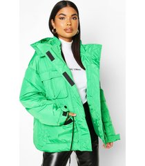 petite double pocket drawstring padded jacket, green