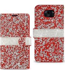reiko samsung galaxy s7edge sm-g935v rhinestone wallet case - retail packaging -