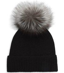 amicale women's cashmere & fox fur pom-pom beanie - black