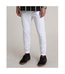 calça de sarja masculina jogger skinny com bolsos e cordão off white