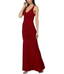 jump juniors' ruched-front glitter-knit gown