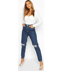 high waist distressed mom jeans, mid blue