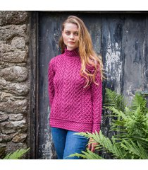 magenta kilcar aran sweater small