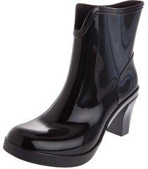 botas lluvia tacon impermeable dark heel bottplie - negro
