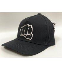 gorra clasica negra estampado plateado fist
