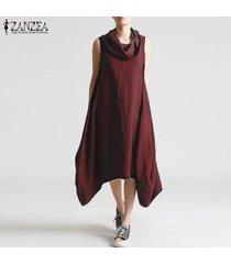 zanzea de las nuevas mujeres holgados floja ocasional maxi largo del vestido del boho sin mangas vestidos de kaftan -rojo