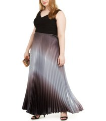 betsy & adam plus size solid & ombre-pleated gown