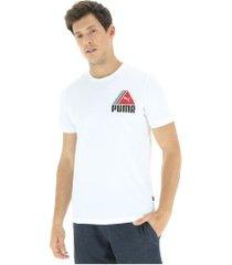 camiseta puma tri retrô - masculina - branco