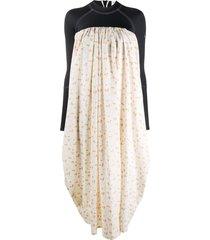 marine serre colour-block flared dress - white