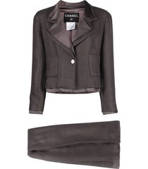 chanel pre-owned 1999 single-breasted skirt suit - brown