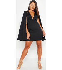 cape detail tailored dress, black