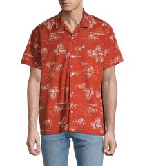 madewell men's paradise easy-fit short-sleeve shirt - red - size m