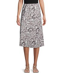 snakeskin-print satin pull-on skirt