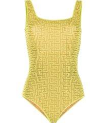 balmain monogram mesh bodysuit - yellow