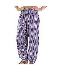 cotton harem pants, 'purple arrows on blue' (guatemala)