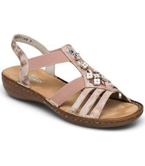 60855-31 shoes summer shoes flat sandals beige rieker