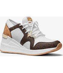 mk sneaker liv in materiale misto con logo - bianco ottico/marrone (marrone) - michael kors
