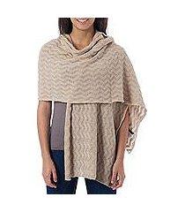 100% alpaca shawl, 'nutmeg zigzag' (peru)