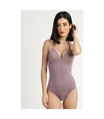 body modelador feminino dilady zero barriga plus size com bojo e aro lilás