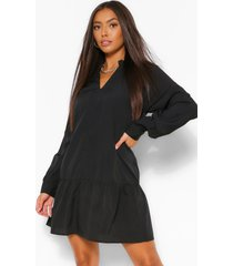 balloon sleeve peplum hem shift dress, black