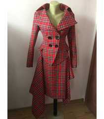 red tartan checked royal stewart tailored suit /womens plaid jacket/ lady blazer