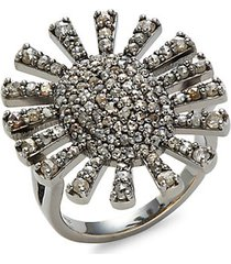 black rhodium-plated sterling silver & diamond ring