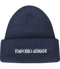 emporio armani embroidered woven beanie
