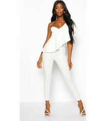 one shoulder ruffle jumpsuit, white