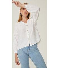 amaro feminino camisa madre pérola manga franzida, off-white