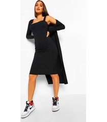 midi jurk met bandjes en lange duster jas set, black