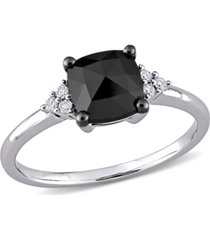 black and white diamond (1 1/3 ct. t.w.) engagement ring in 14k white gold