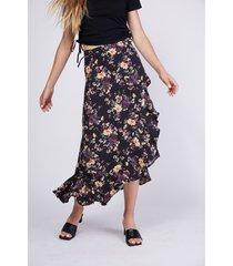 falda larga floreada con amarras laterales negro mujer sioux