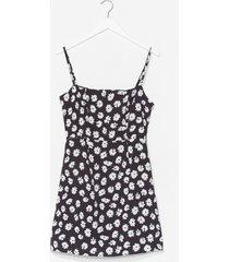 womens large daisy square neck mini dress - black