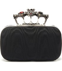 butterfly jewelled moire satin knuckle clutch