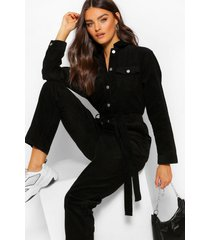 cord belted jumpsuit, black