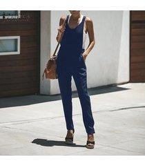zanzea mujeres plus sin mangas con cuello en v sin formato mono playsuits trajes pantalones -azul