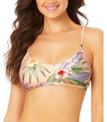 california waves juniors' floral-print bralette bikini top women's swimsuit