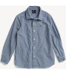 tommy hilfiger boy's adaptive plaid woven shirt wellsley blue - xs