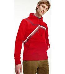 tommy hilfiger men's organic cotton split stripe hoodie primary red - m