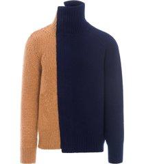 sacai two toned asymmetric knit jacket